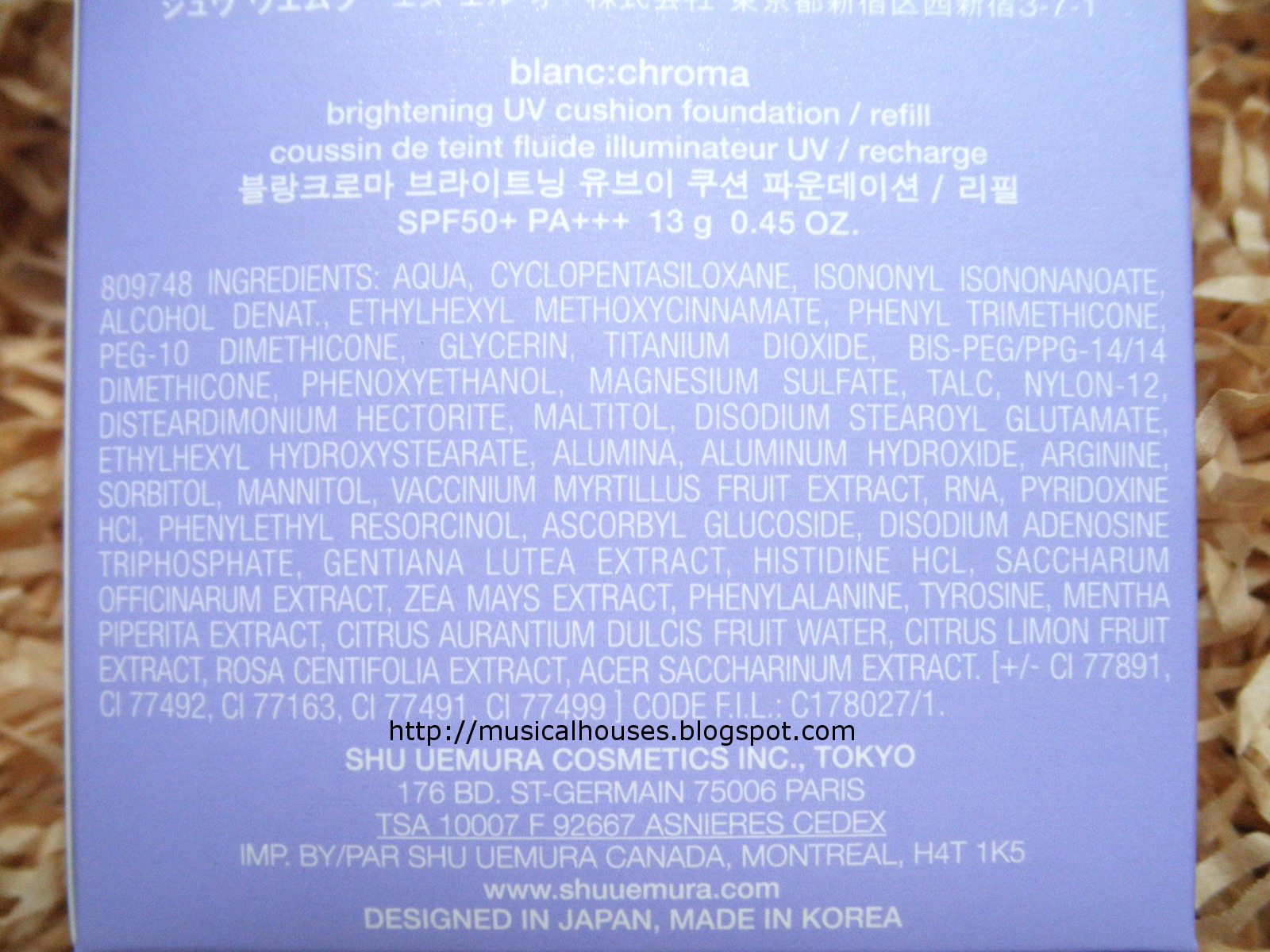 Shu Uemura Blanc Chroma Brightening UV Cushion Ingredients