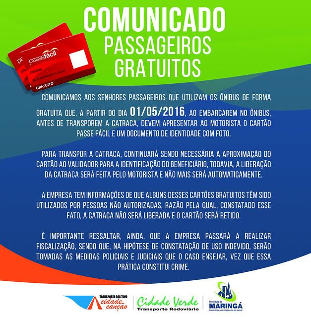 COMUNICADO TCCC - PASSAGEIRO GRATUITO
