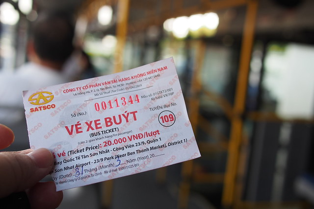 bus ticket for yellow 109 bus from Tân Sơn Nhất International Airport. Ho Chi Minh City (Saigon)