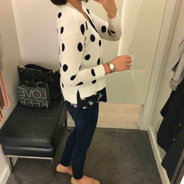 Ann Taylor Dotted Hi-Lo Cotton Cardigan