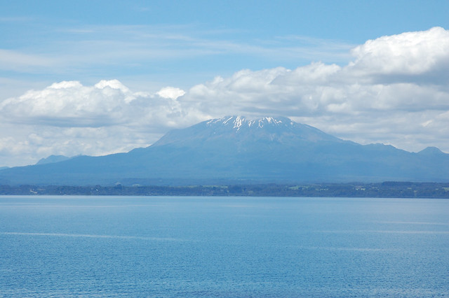 Views of Volcán Calbuco over Lago Llanquihue near Llanquihue, Los Lagos, Chile