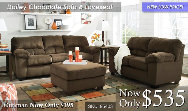 Dailey Chocolate Living Room Set NLP