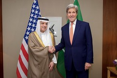 U.S. Secretary of State John Kerry shakes hands with Saudi Foreign Minister Adel al-Jubeir at the President Wilson Hotel in Geneva, Switzerland, on May 2, 2016, amid a series of meetings focused on the cessation of hostilities in Syria.  [State Department photo/ Public Domain]
