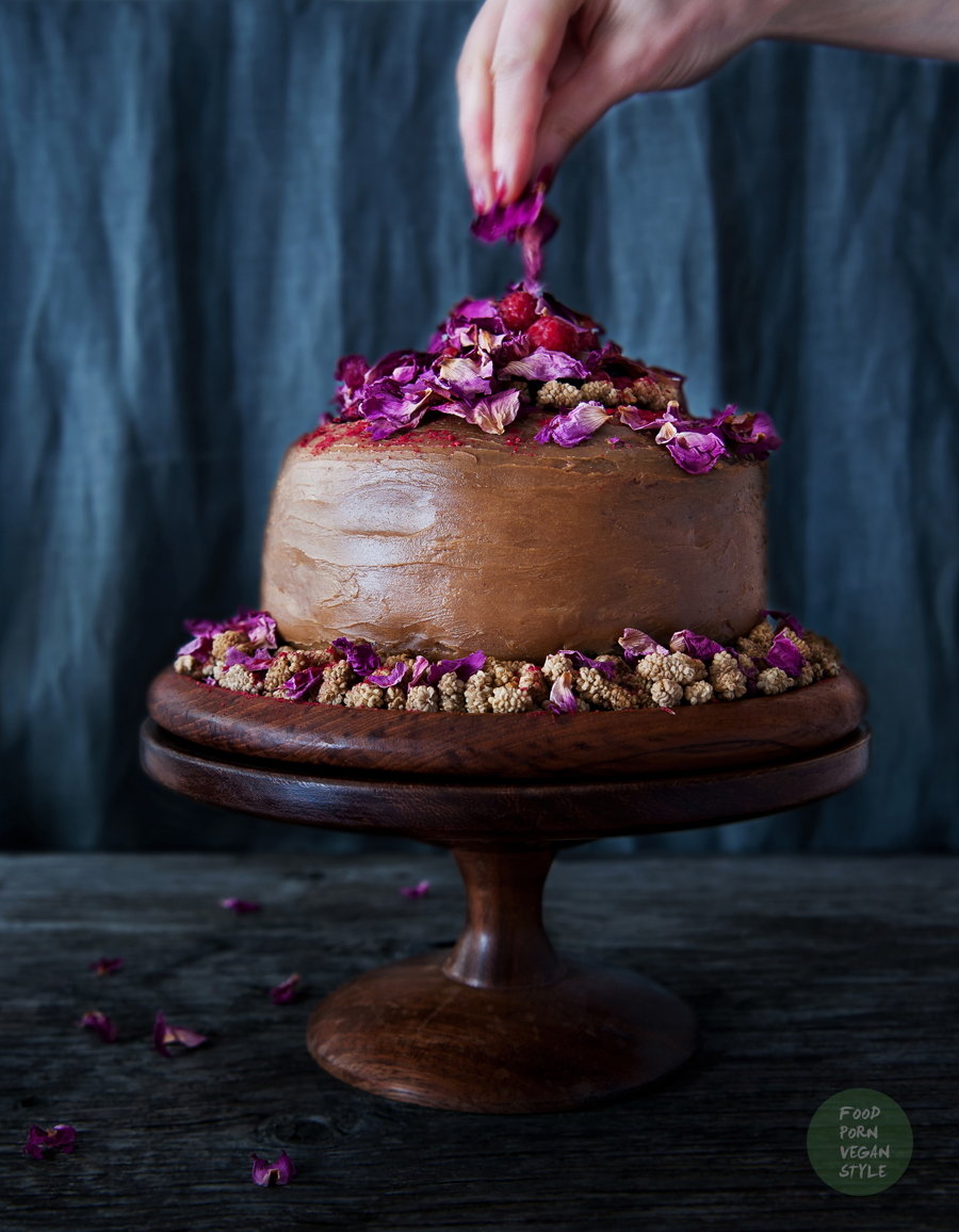 Vegan carob tort / layer cake with sesame-millet cream and raspberry mousse