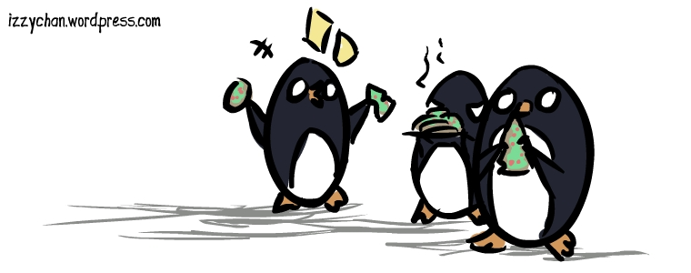penguins eating Christmas cookies