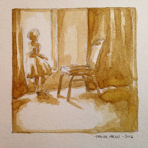 My daughter at two and a half years old, looking out a coffee shop window. Painted in coffee wash.