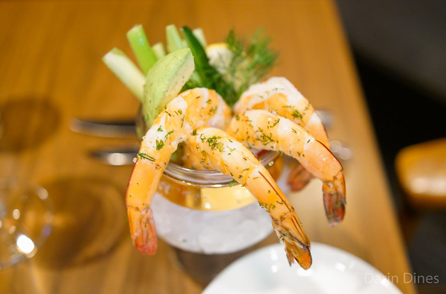 Chilled Jumbo Shrimp Cocktail with cucumber, celery, avocado and dill
