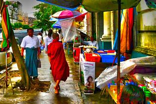 DSC_6002more sat.jpg Buddhist monk walking in Rangoon Myanmar