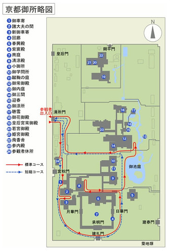 京都御所、略図 by宮内庁サイト