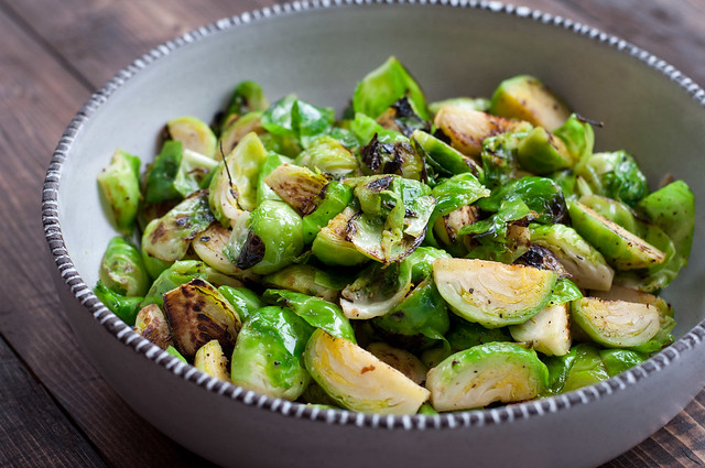 easy seared brussels sprouts for balsamic rice bake!