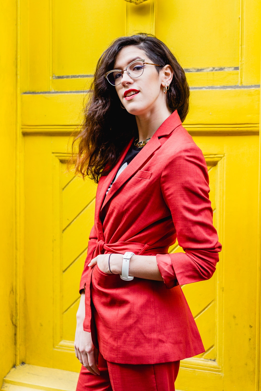 red asos suit