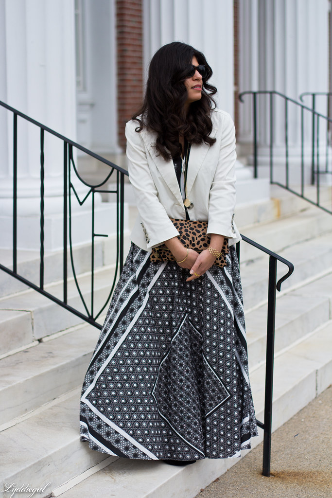 printed maxi dress, white blazer, leopard clutch-1.jpg