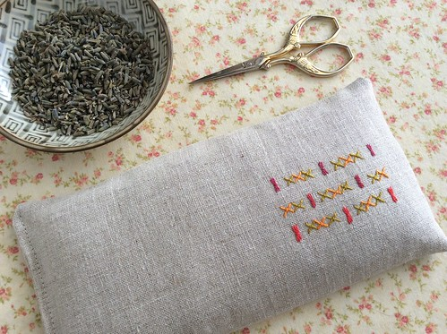 Embroidered linen lavender eye pillows
