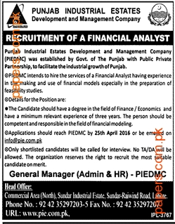 Punjab Industrial Estates Development Job  2016