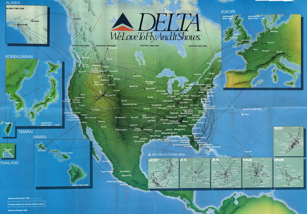 Delta system route map, fall 1989   A Delta Air Lines system…   Flickr