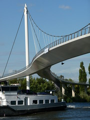 2011.07 - 'Photo of modern bridge architecture', a Dutch suspension-bridge: the Nesciobrug; northeast of Amsterdam city; photo geotagged, in public domain