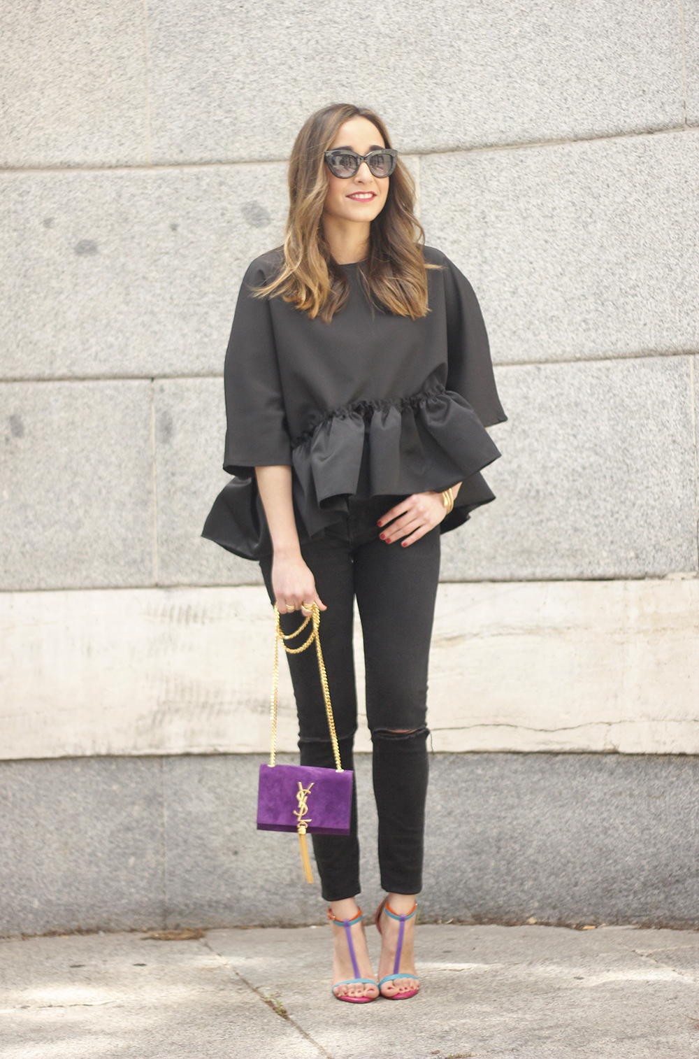 black top with a ruffle Carolina Herrera Sandals YSL bag accessories outfit style09