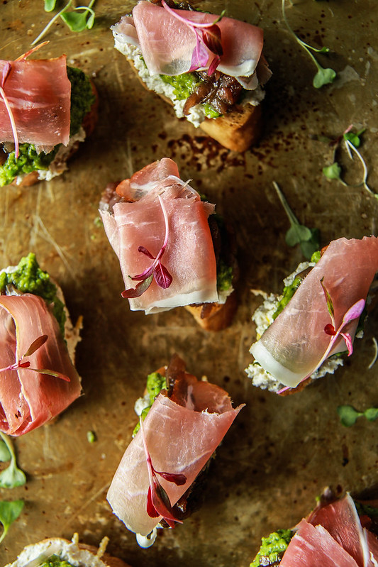 Almond Ricotta, Pea Mint Puree and Caramelized Onion Prosciutto Crostini- Gluten free and dairy free