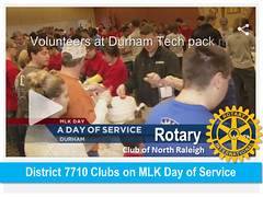Rotary gets local news coverage on MLK Day. 14 clubs in District 7710, including our club, donated to make this meal packing event possible. Both 2-hour shifts were full and the event produced its goal of 100K meals.