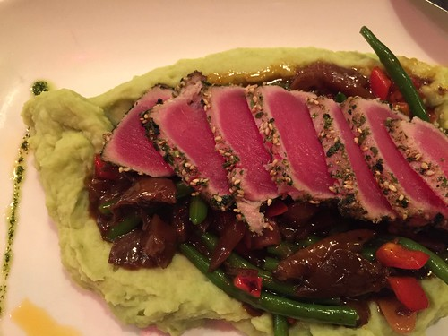 Yellow fin tuna on mushrooms and green beans with wasabi pea mashed potatoes