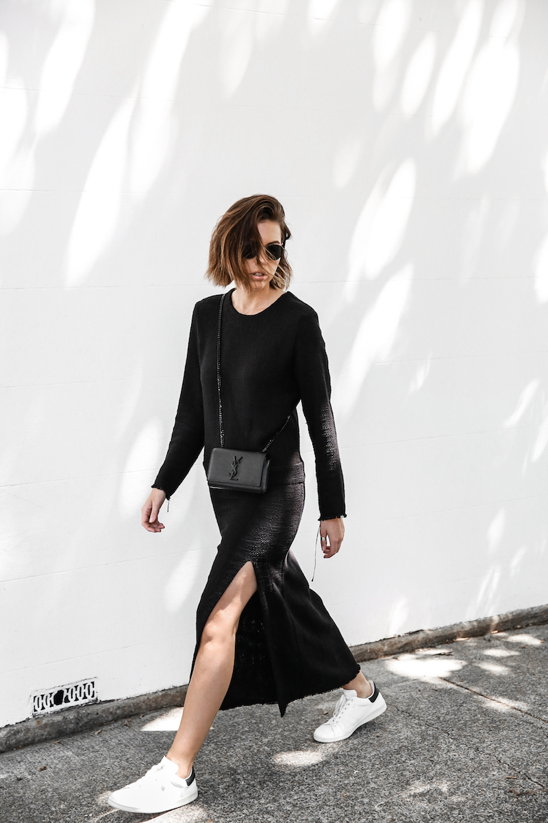 long sleeve maxi dress street style inspo fashion blogger transseasonal YSL chain bag monochrome modern legacy  (1 of 13)