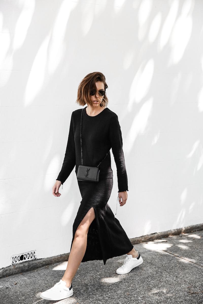 long sleeve maxi dress street style inspo fashion blogger transseasonal YSL chain bag monochrome modern legacy  (1 of 13)