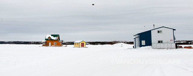 Yellowknife houseboats on the lake