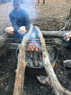 Beef kebabs on the campfire