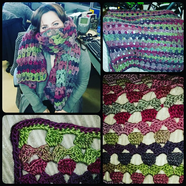 Made a wrap for my friend with some gorgeous wool blend we found on an adventure in LoughRea. It took me months to make - but I think the colors and pattern turned out beautiful.  One of my favorites (I didn't add the fringe).The free crochet pattern is h