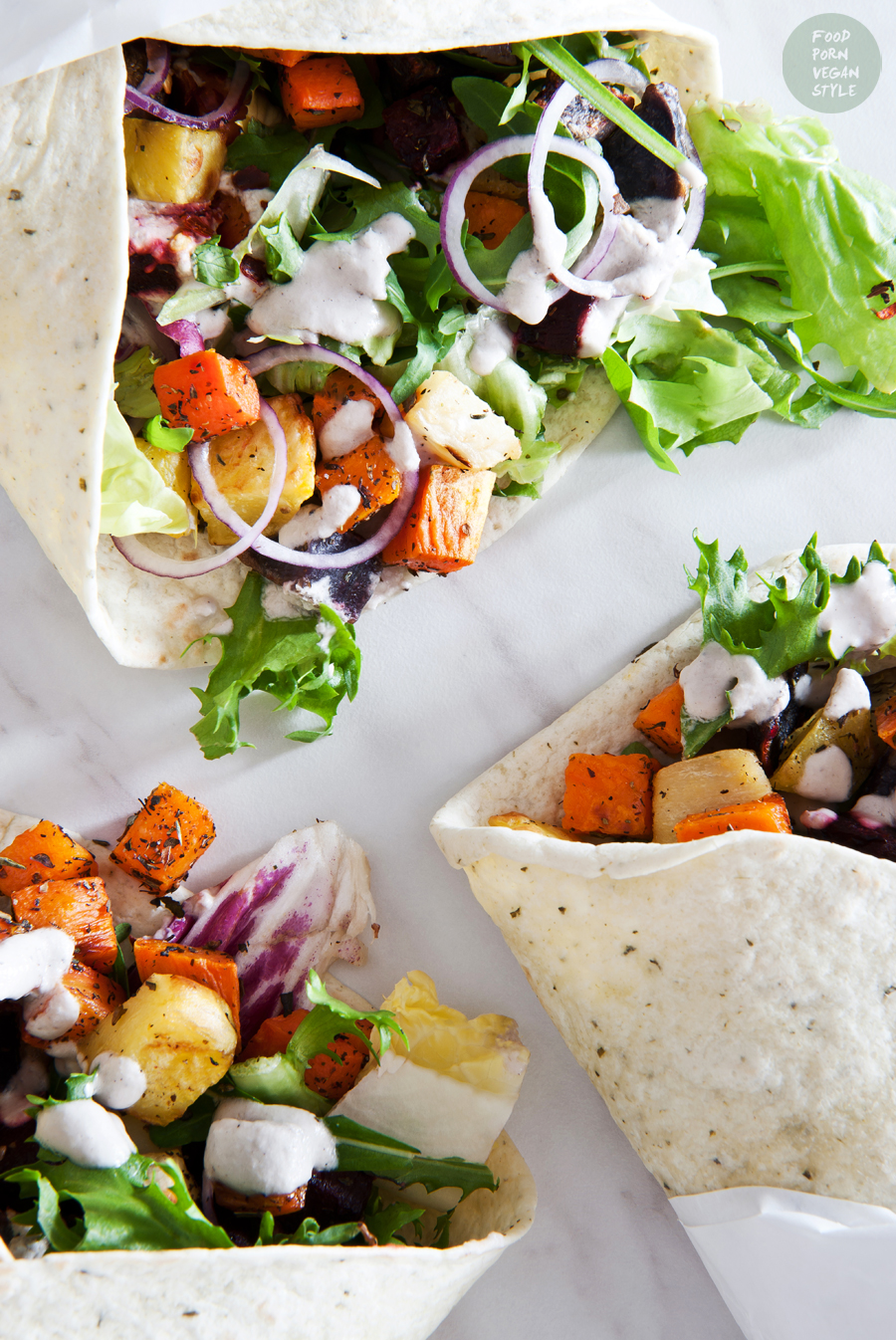 Vegan tortilla wraps with roasted vegetables and herbs