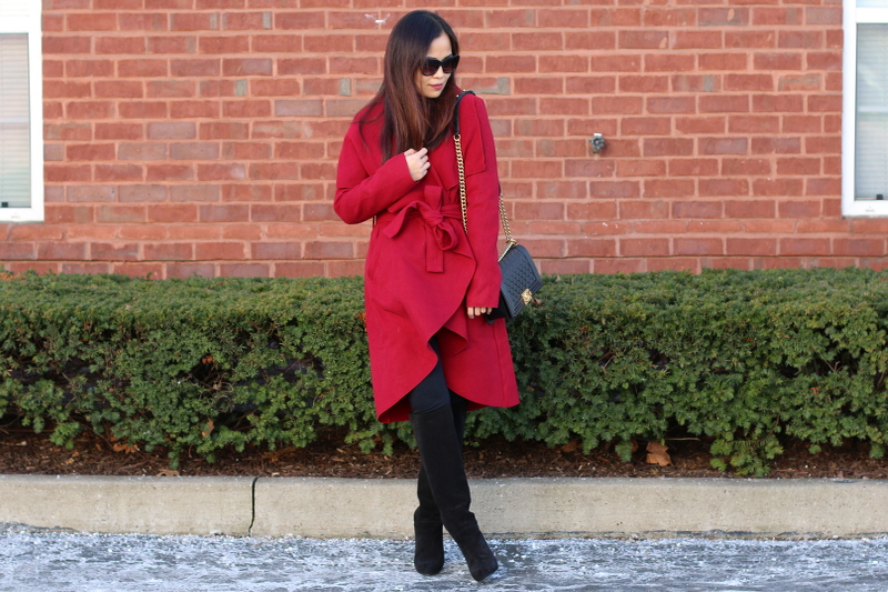 SheIn red coat, Topshop tall suede boots