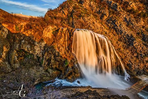 sunset water river waterfall spring croatia limestone karst source knin krka dalmatia dinara dinaricalps krcic