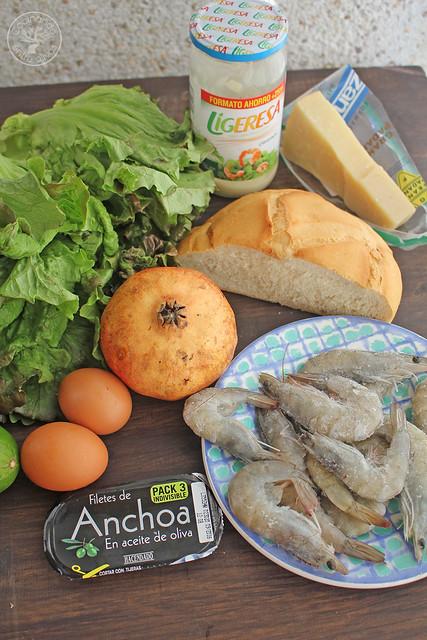 Ensalada Cesar con langostinos www.cocinandoentreolivos.com (4)