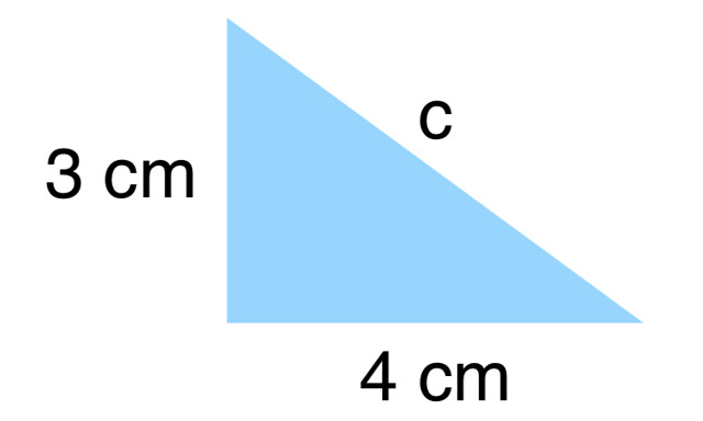 Triangle illustrating Pythagoras' theorem