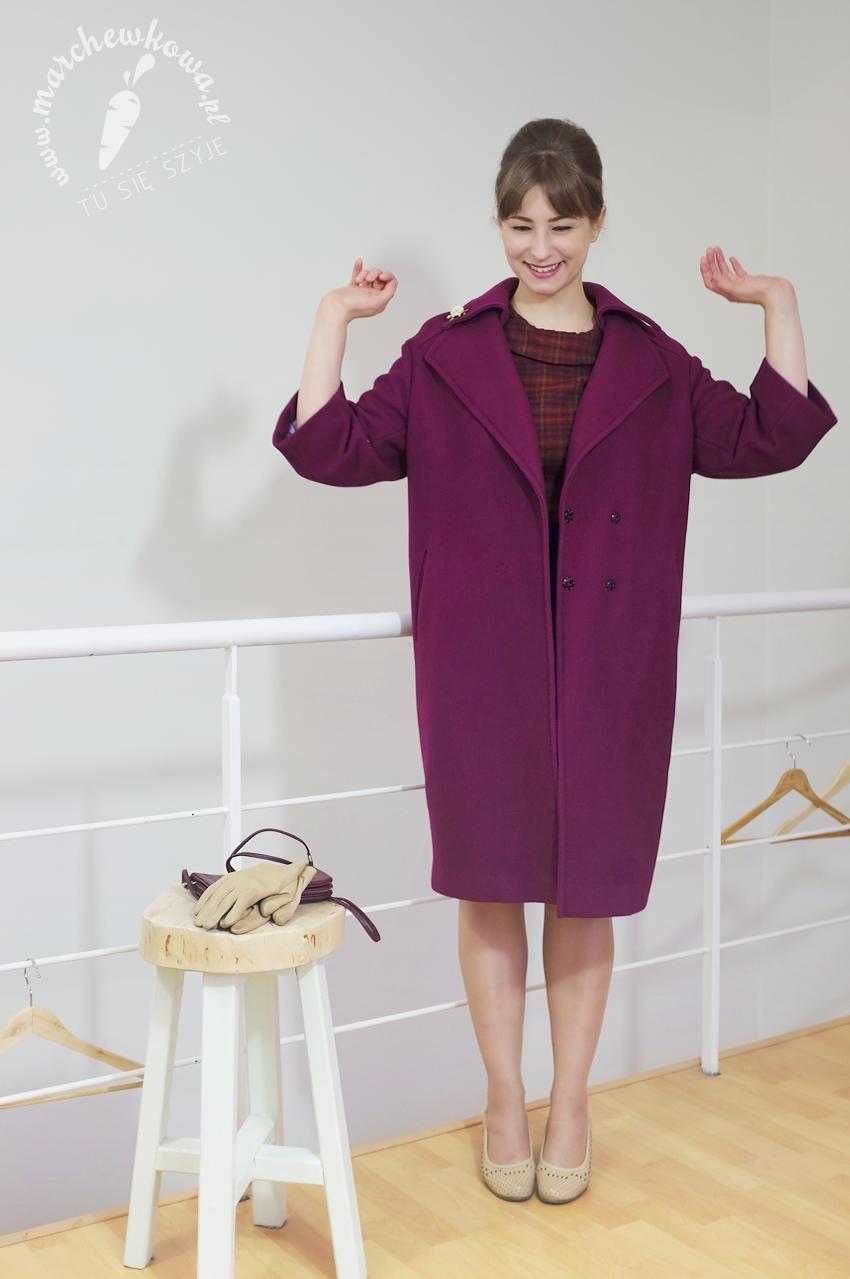 blog, szycie, krawiectw, moda, retro, vintage, marchewkowa, 1950s, 1960s, Balenciaga style coat, płaszcz, diagonal wełniany, wool, refashioned, Reiss