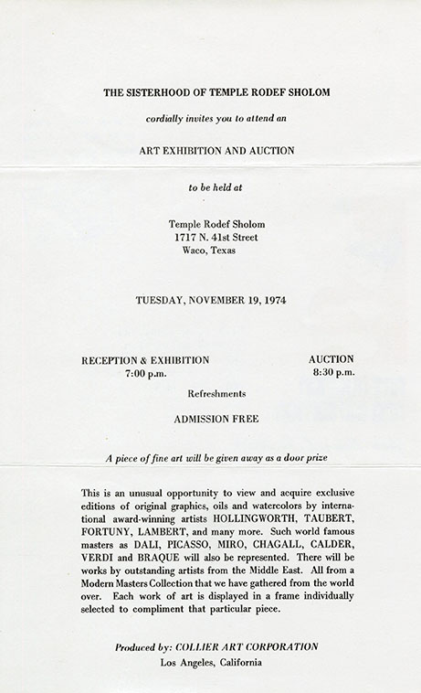 Waco Rodef Sholom Sisterhood art exhibition and auction flyer, 1974