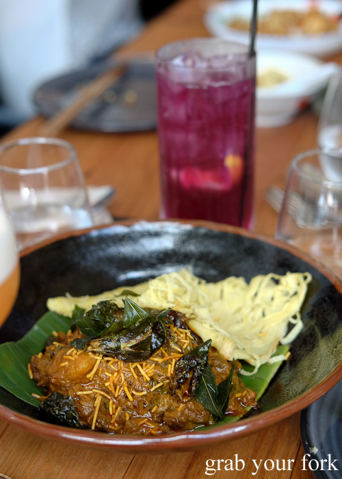 Malaysian vegetarian curry with roti jala at Lazy Suzie, Darlinghurst