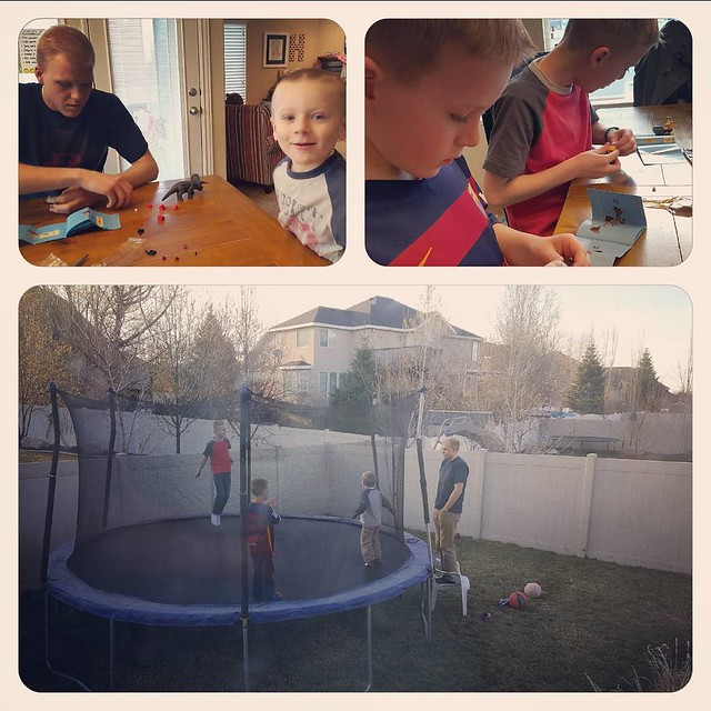 Jumping on the trampoline and building mixels instead of dyeing easter eggs with  the uncle.