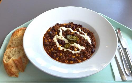Texas jailhouse chili with beef, pork, chorizo & jalapenos / Texas Jailhouse Chili mit Rind, Chorizowurst  & Jalapenos