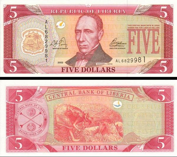 5 Dolárov Liberia 1999, P21 UNC