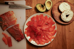 Gravlax Cured some salmon with herbes du provence for a couple of days; made for an awesome breakfast!