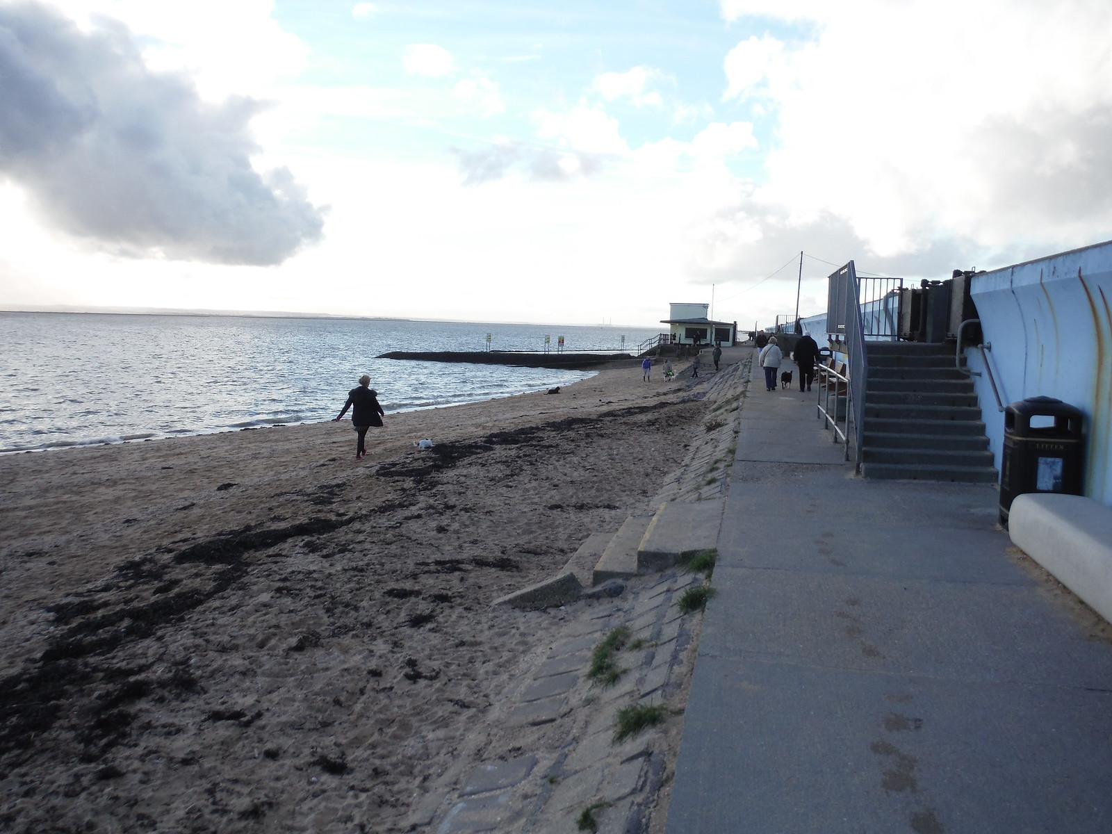 Beaches, Groynes, Paddling Pool, Cafe: Concord Beach, Canvey Island SWC Walk 258 Benfleet Circular (via Canvey Island)