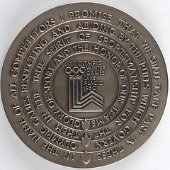 Lake Placid 1980 Winter Olympics Participation Medal reverse