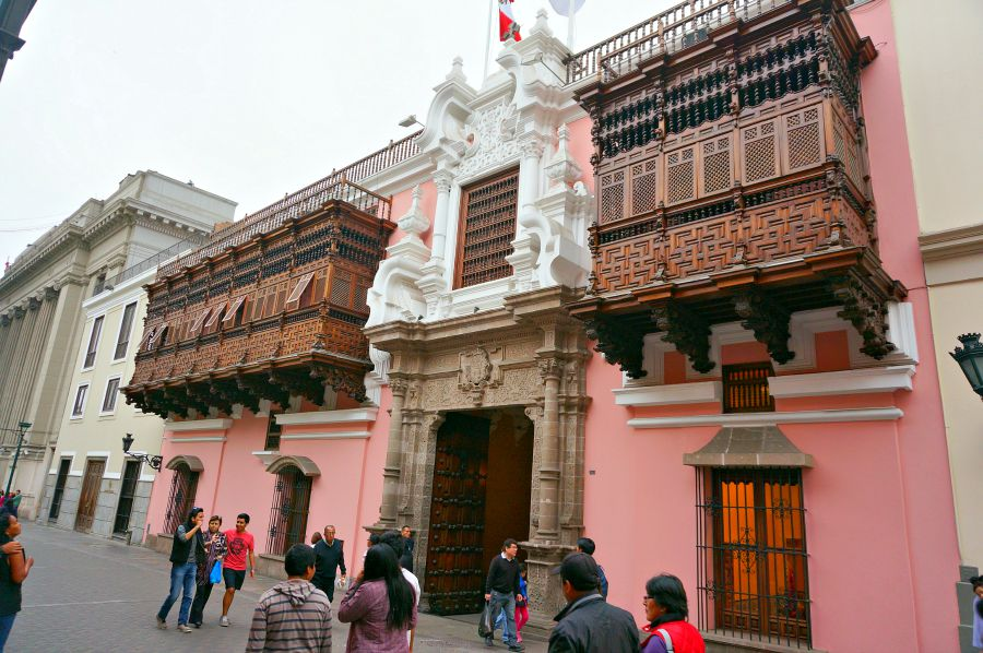 Ornate balconies lining the buildings in downtown Lima Peru