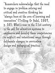 "Educational Postcard: ""Researchers acknowledge that the need to engage in problem solving and critical and creative thinking..."""