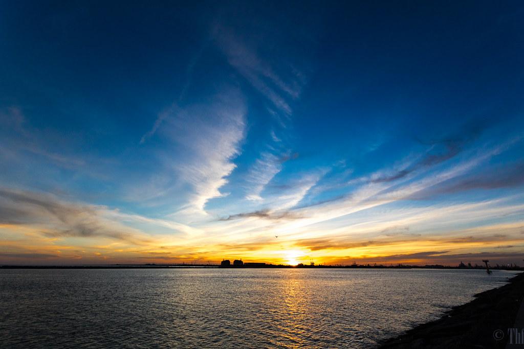 Sunset from the Surfside Jetty near Freeport, Texas