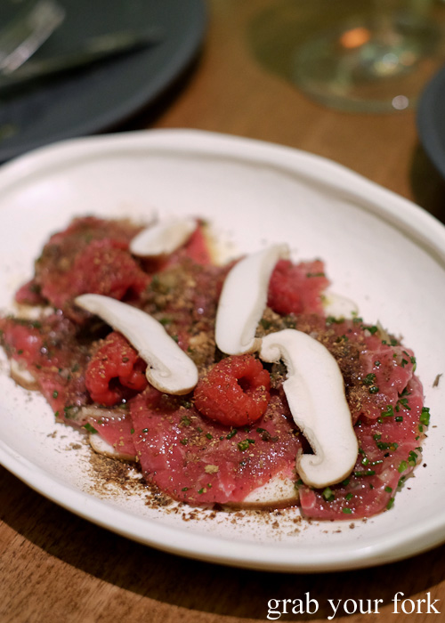 Aged beef tartare, coffee at pickled raspberries at Bar Brose, Darlinghurst