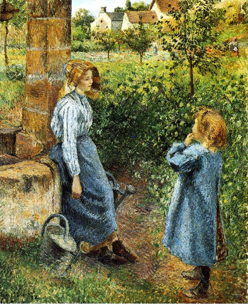 Young Woman and Child at the Well by Camille Pissarro, 1882