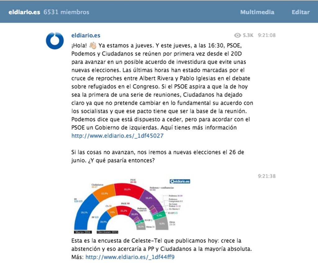 Canal de Telegram de eldiario.es