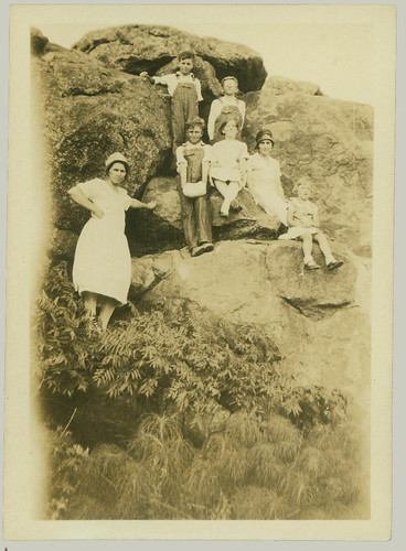 Group on a rock